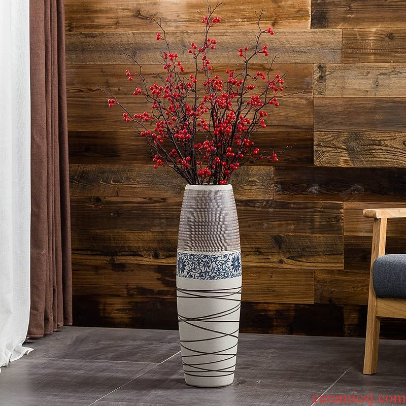 Jingdezhen ground vase large - sized ceramic furnishing articles I and contracted household decorates porch retro flower arranging big living room