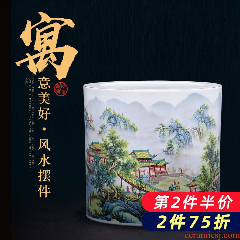 Modern Chinese jingdezhen ceramics powder enamel vase furnishing articles calligraphy cylinder home sitting room adornment ornament