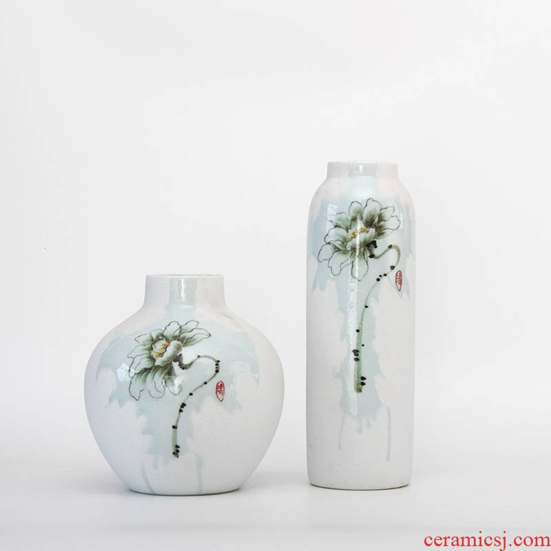 New Chinese style ceramic vase furnishing articles sitting room light flower arranging key-2 luxury Nordic hand - made creative contracted flower decorations