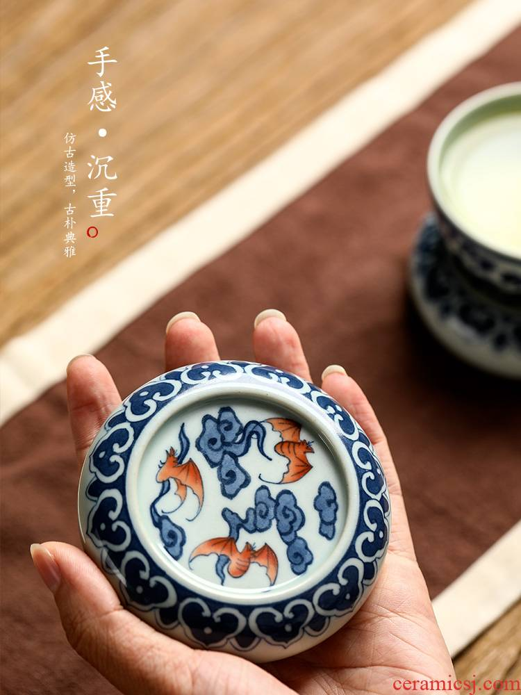 It blue cover rear cover bracket of jingdezhen ceramic hand - made bucket color pallet tea cups kung fu tea accessories