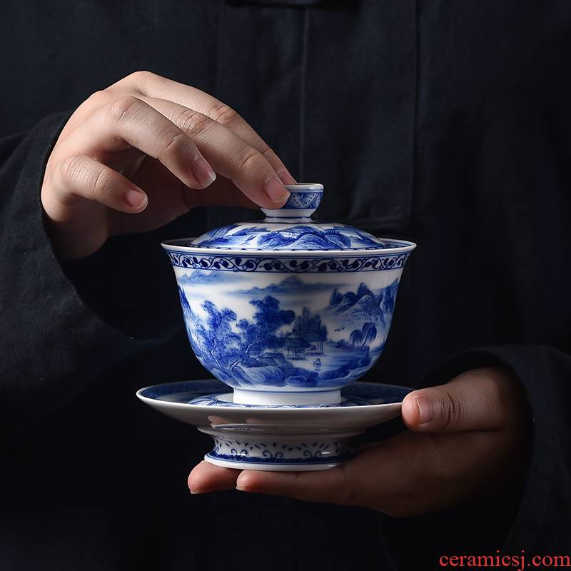 . Poly real scene three tureen suit only a single large jingdezhen checking home landscape thin foetus blue - and - white hand - made mercifully