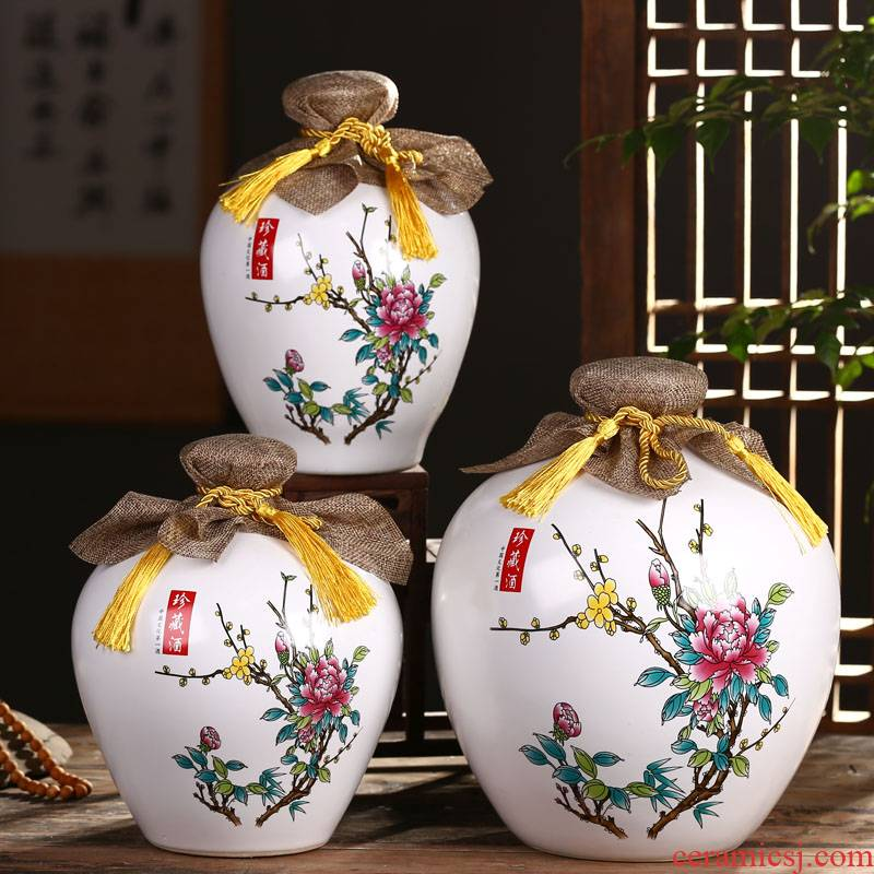Jingdezhen ceramic bottle is empty bottle 1 catty 2 jins 5 jins 10 jins home jar jar sealed jar of wine furnishing articles