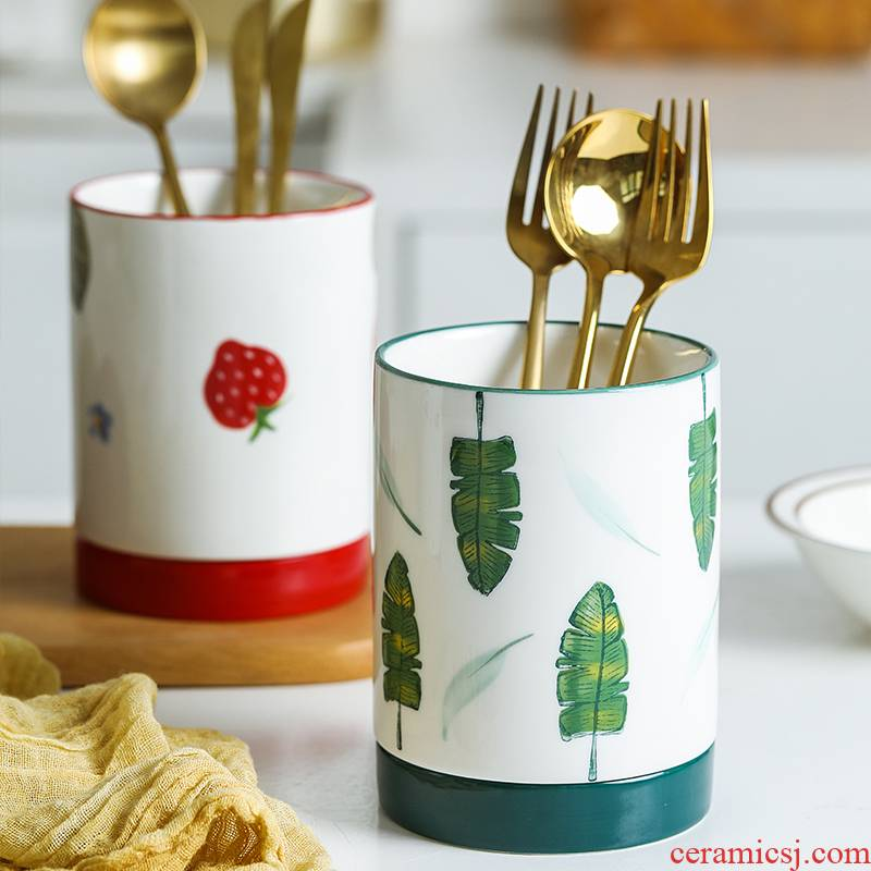 Nordic household ceramics chopsticks chopsticks tube ltd. kitchen spoon the receive aircraft waterlogging under caused by excessive rainfall chopsticks cage to their shelves