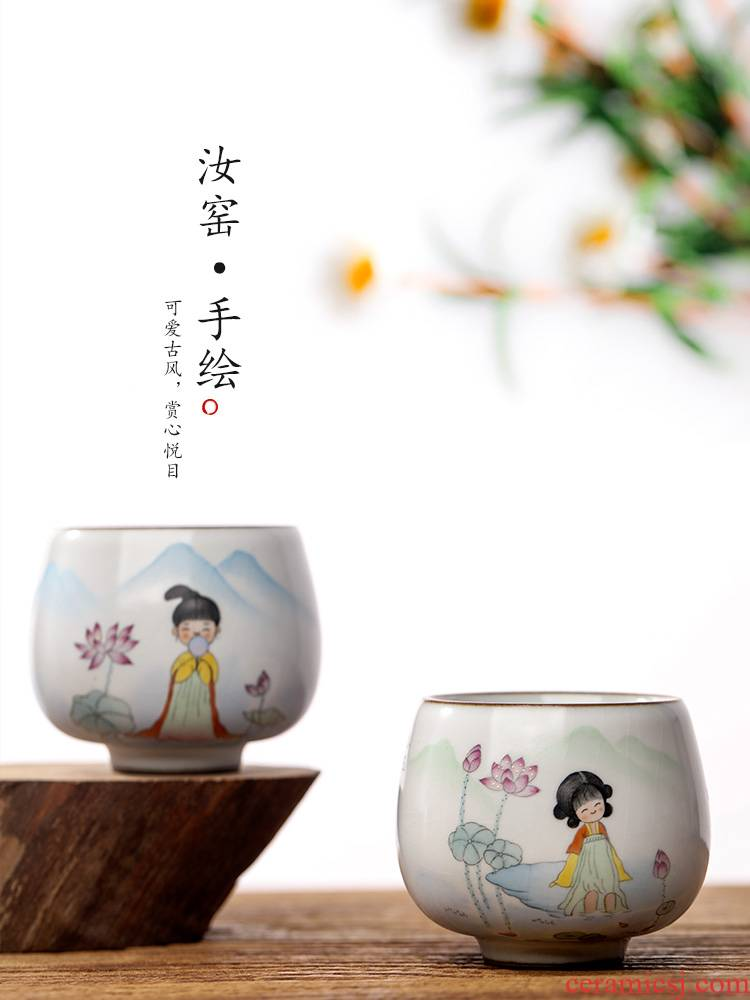 Jingdezhen hand - made ru up market metrix who cup of pure manual sample tea cup single CPU kung fu tea light ceramic cups ancient characters