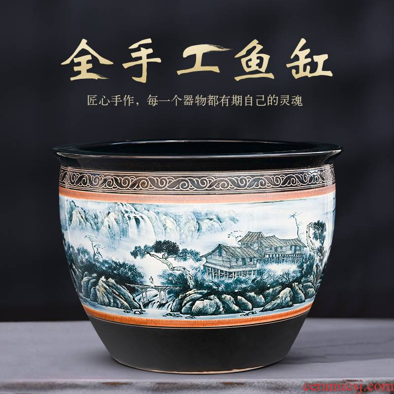 Heavy packages mailed jingdezhen hand - made ceramic aquarium 1 meter tank porcelain jar water lily basin bowl lotus lotus cylinder cylinder tortoise