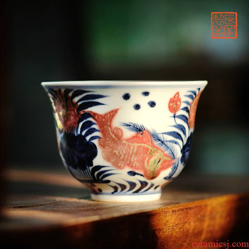 Blue and white youligong offered home - cooked ju long up controller hand - made bell cup 170 ml capacity of jingdezhen ceramic cups