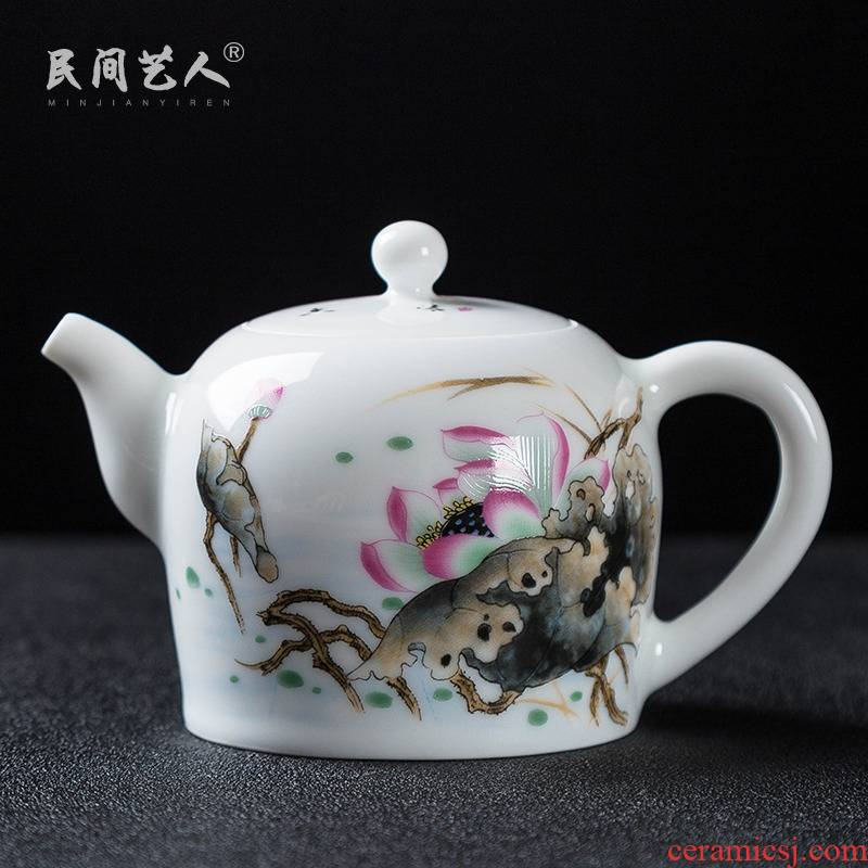 Kung fu tea tea set ceramic teapot single pot teapot jingdezhen high - white porcelain famille rose porcelain teapot