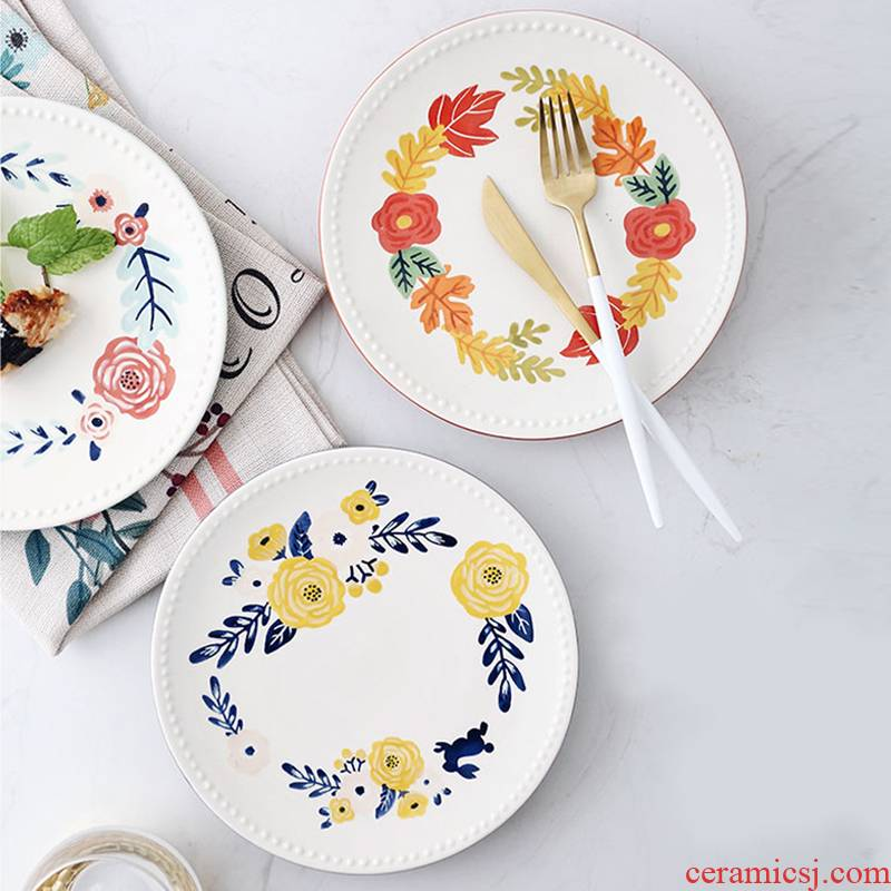 Creative European - style seasons bead edge plate of household ceramics pastry snack plate single I sitting room dessert plate