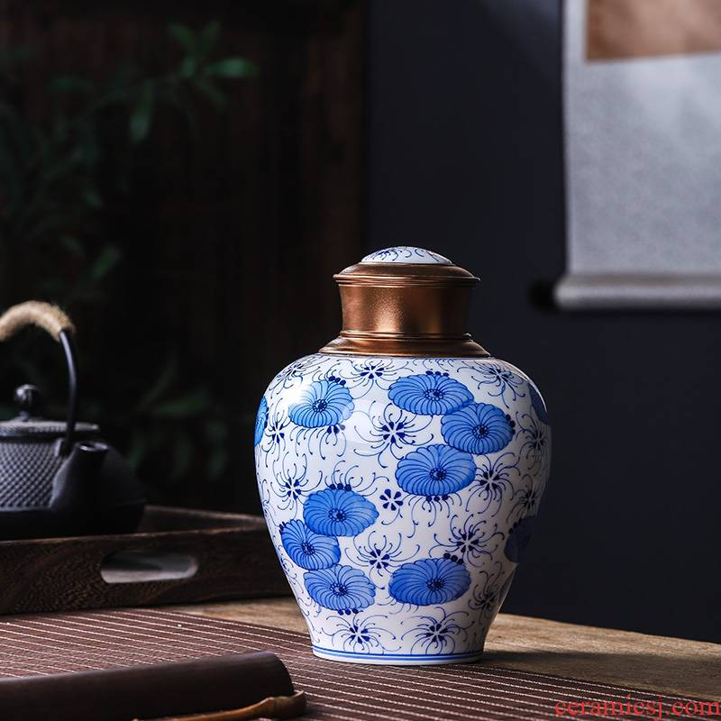 The Poly real scene of jingdezhen blue and white porcelain of high - grade ceramic seal tea jar Chinese large household moistureproof creative hand