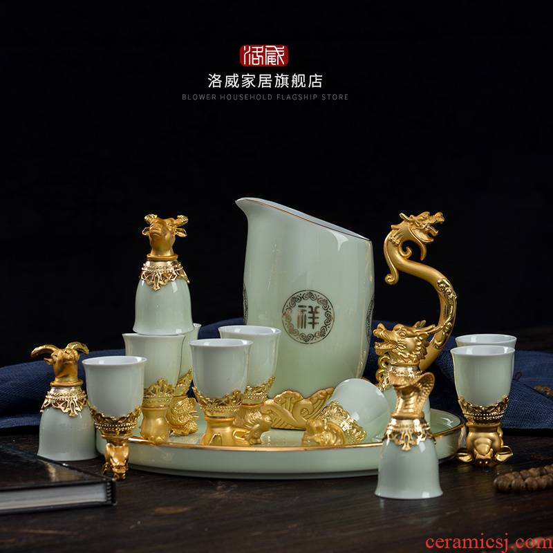Jingdezhen wine suits for Chinese style Chinese zodiac animal heads liquor cup of wine and wine of archaize ceramic gifts