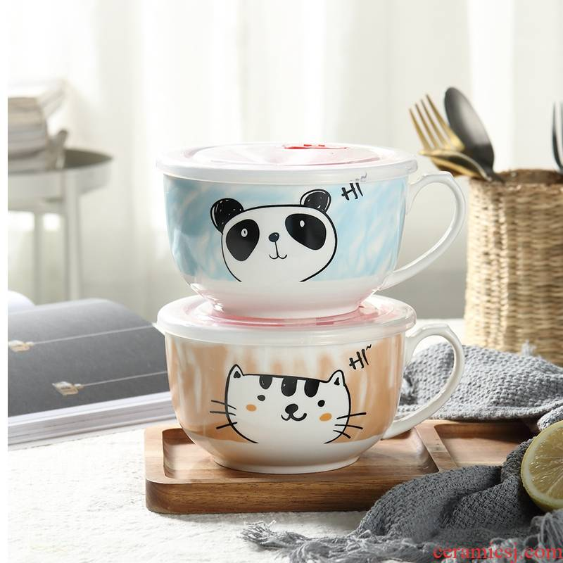 Use of the individual students' individuality express it in Japanese mercifully rainbow such as Bowl with cover with ceramic handle easy to clean large soup Bowl suit