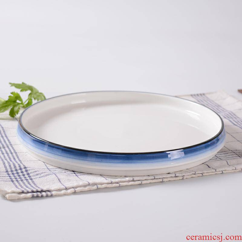 Ceramic plate tray was disc flat cake for breakfast dish simple hand - made ltd. hotel hotel restaurant tableware
