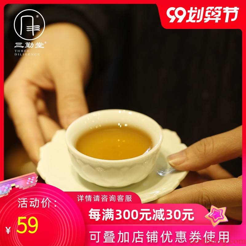The three frequently jade porcelain sample tea cup small jingdezhen ceramic cups kung fu tea set, The second generation violet petals masters cup