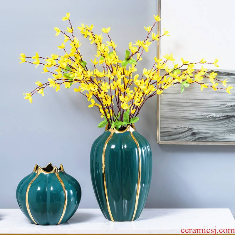 Light key-2 luxury ceramic vase furnishing articles sitting room simulation flower flowers, dried flowers, floral water table decoration home decoration