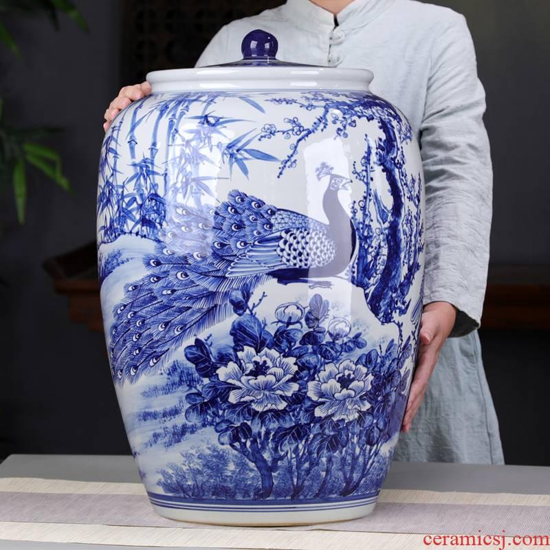 Hand draw the peacock blue and white porcelain tea pot size 50 large puer tea pot oversized detong cake tea storage tanks