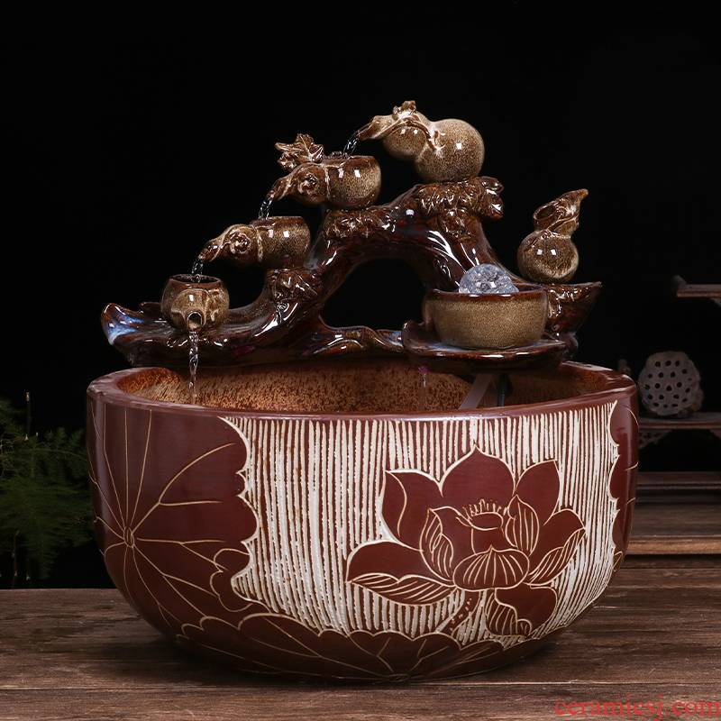 Restoring ancient ways of jingdezhen ceramic aquarium desktop furnishing articles sitting room creative small water fountain automatic cycle humidifier