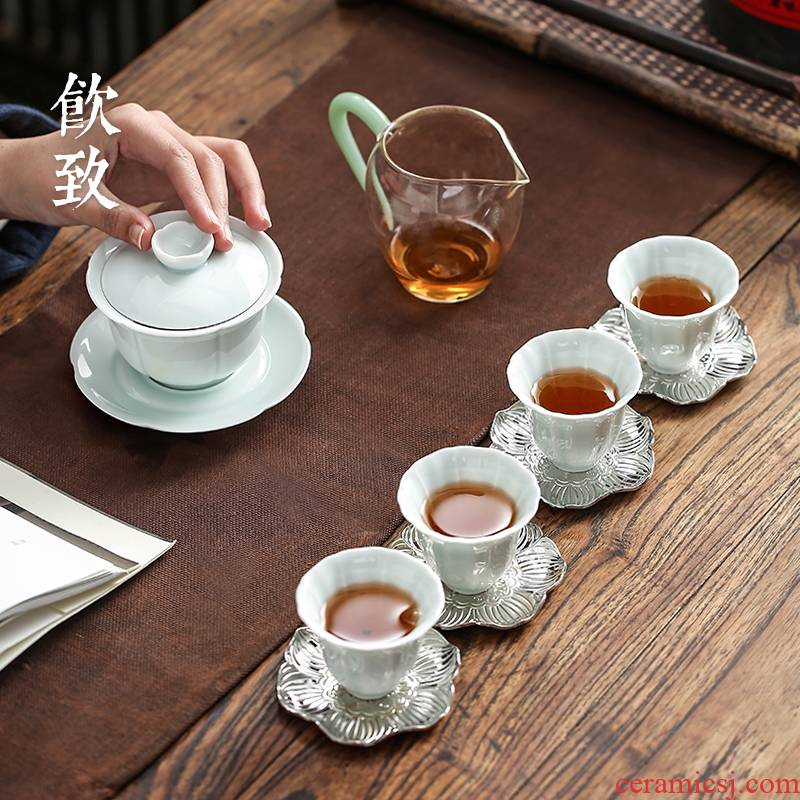 Ultimately responds to jingdezhen celadon tureen tea cup suit make tea tea art household contracted Japanese kung fu tea set office