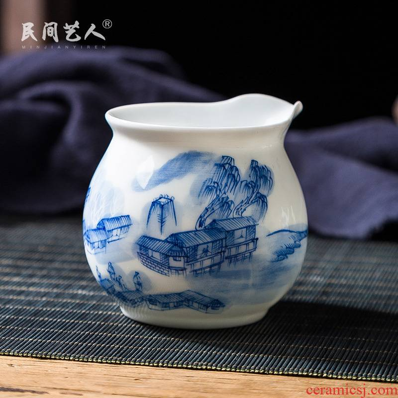 Jingdezhen ceramic hand - made blue mountain people points of tea ware fair keller cup household tea accessories and CPU