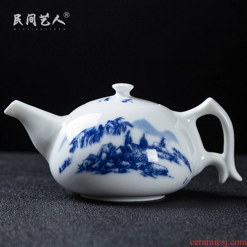 Jingdezhen porcelain teapot filtering pot of tea little teapot household contracted and I ceramic kung fu tea set with zero