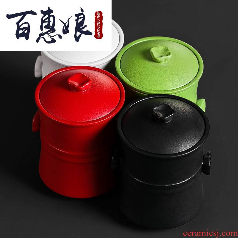 (niang contracted office ceramic tea cup with cover filter mugs coarse pottery cups of tea cup to ultimately responds