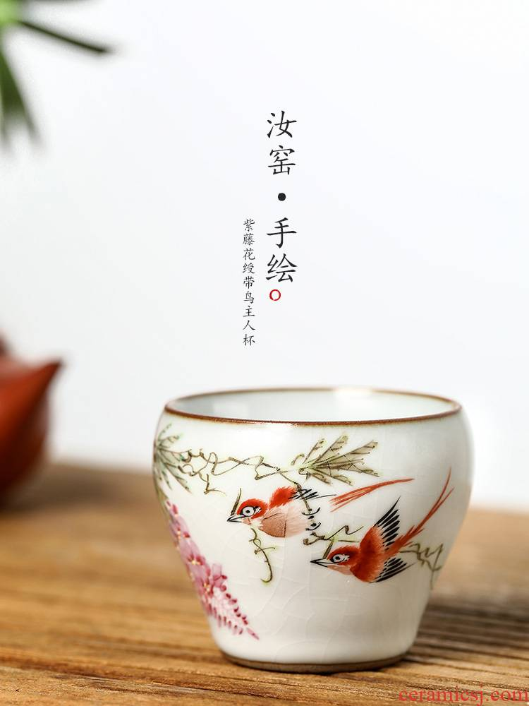 Jingdezhen tea Xu Jiaxing pastel hand - made kung fu masters cup of pure manual ceramic cups your up sample tea cup