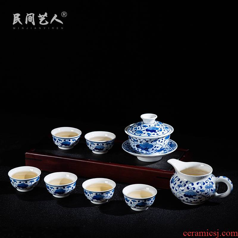 Jingdezhen 8 head tureen hand - made ceramic tea set under glaze color porcelain set of kung fu tea set