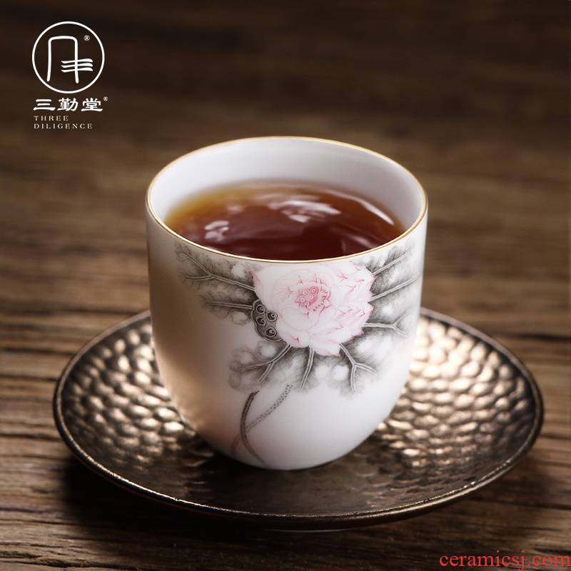 The three frequently ceramic cups sample tea cup color ink master cup single CPU jingdezhen kung fu tea set personal cup fragrance - smelling cup