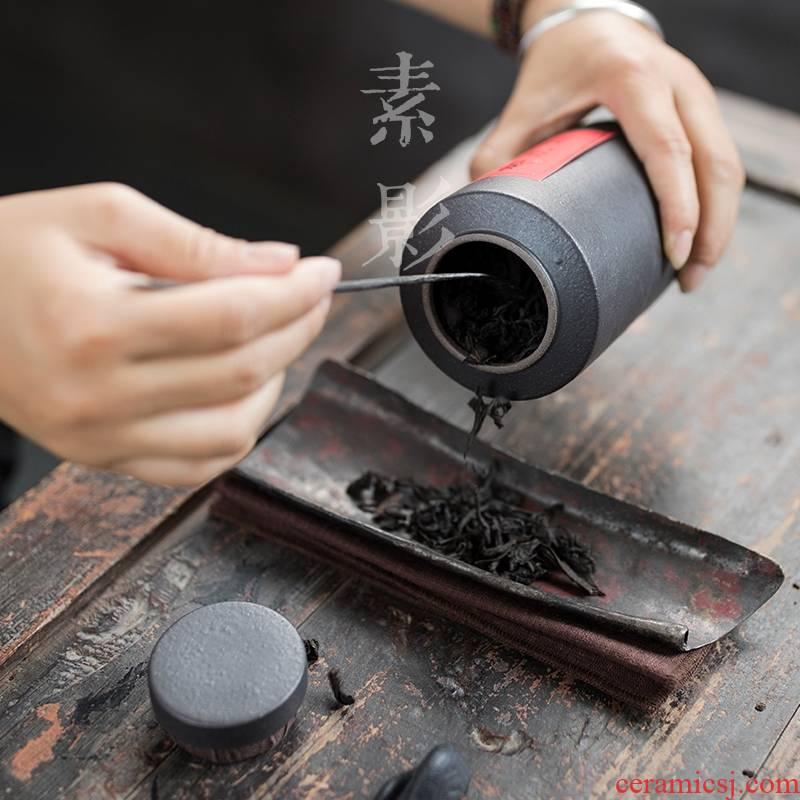 Longed for restoring ancient ways opportunely coarse ceramic tea pot manual seal tank storage tanks tieguanyin tea storage jar