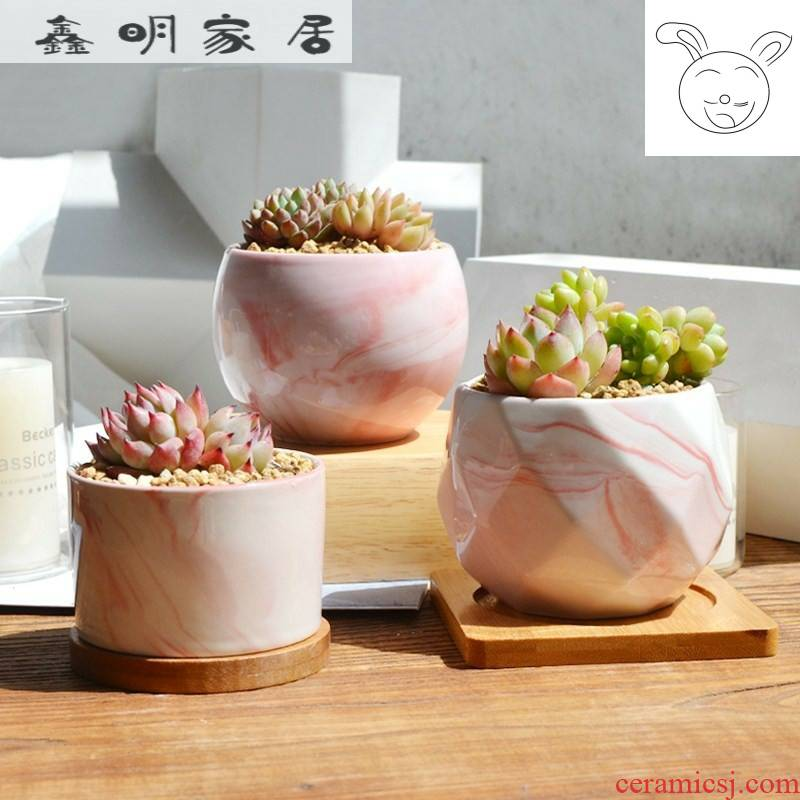 Breathable furnishing articles tray marble retro artistic move fleshy flower pot diameter 15 cm10 contracted ceramics