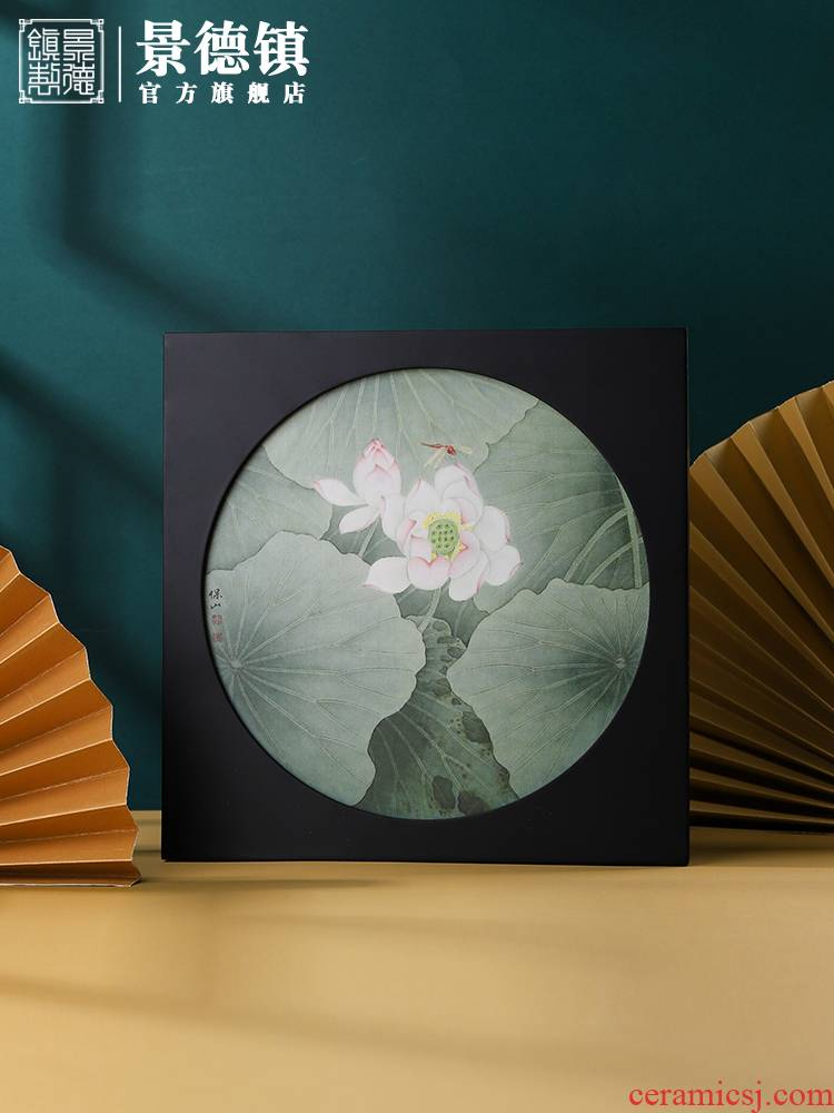 Jingdezhen ceramic decal porcelain plate painting Chinese wind sitting room porch decoration mural study present furnishing articles that hang a picture
