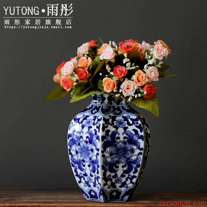 Jingdezhen blue and white porcelain vase furnishing articles sitting room TV ark, grain dry flower arranging flowers simulation flower flowers have small expressions using water