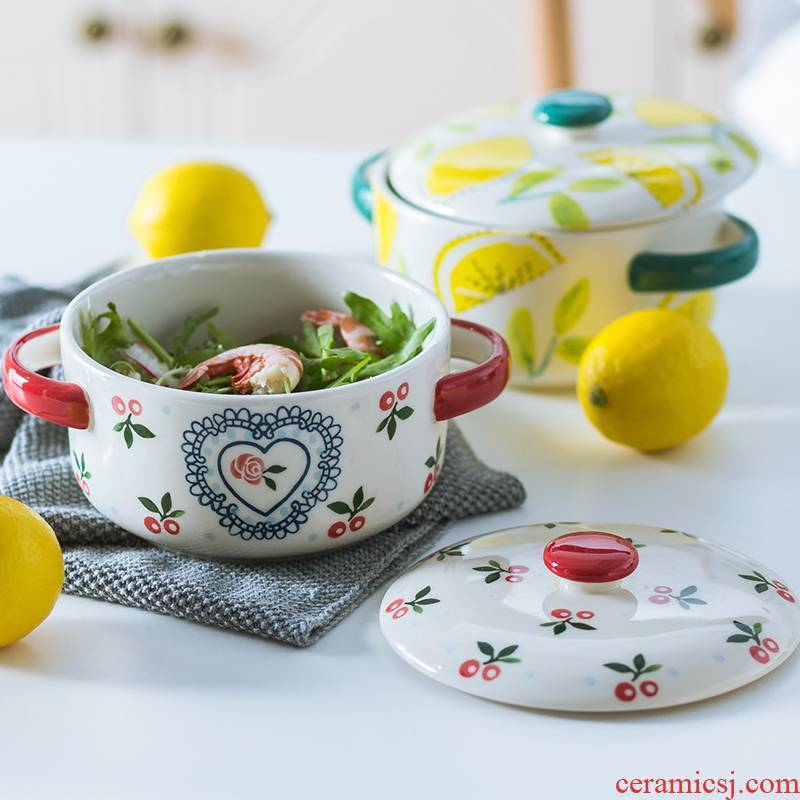 Cherry ceramics with cover small household stew water stew pot soup cup double cover the tank stew pot steamed egg dishes