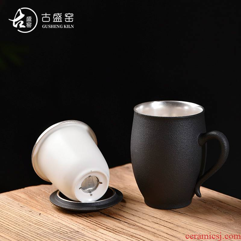 Ancient silver glass office cup coppering. As sheng up master cup single cup large cups with cover filter glass ceramic tea cup