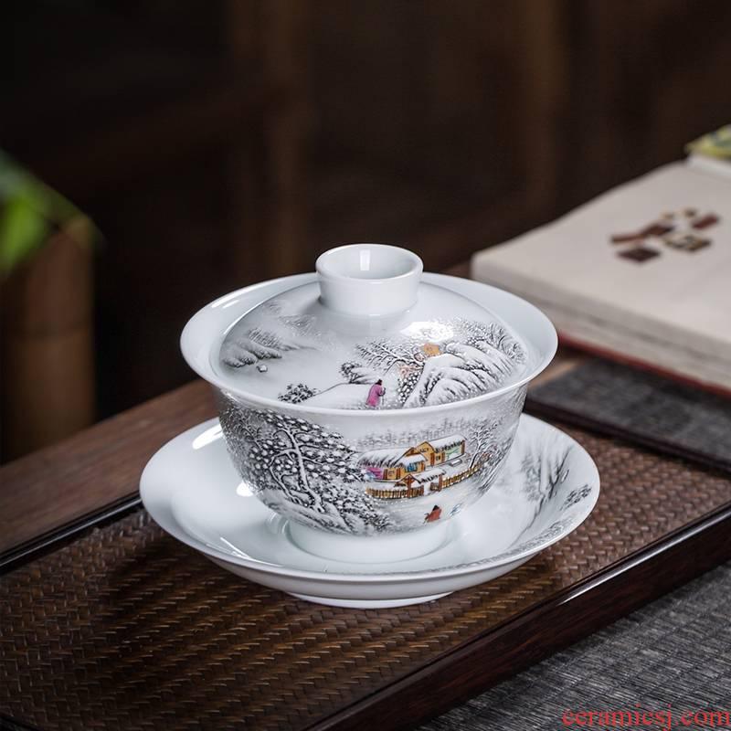 Owl up with jingdezhen ceramic tureen tea service manual kung fu tea cups three landscape bowl bowl tea set