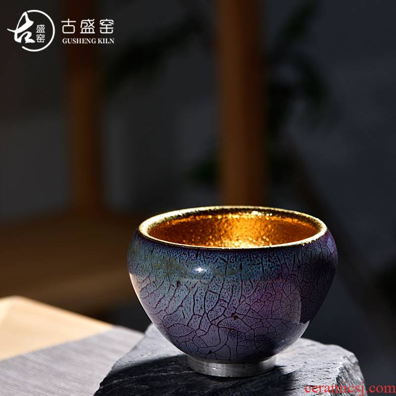 Ocean 's ancient sheng up new 24 k gold ceramic up Taiwan temmoku master cup single CPU jun porcelain fine gold cup