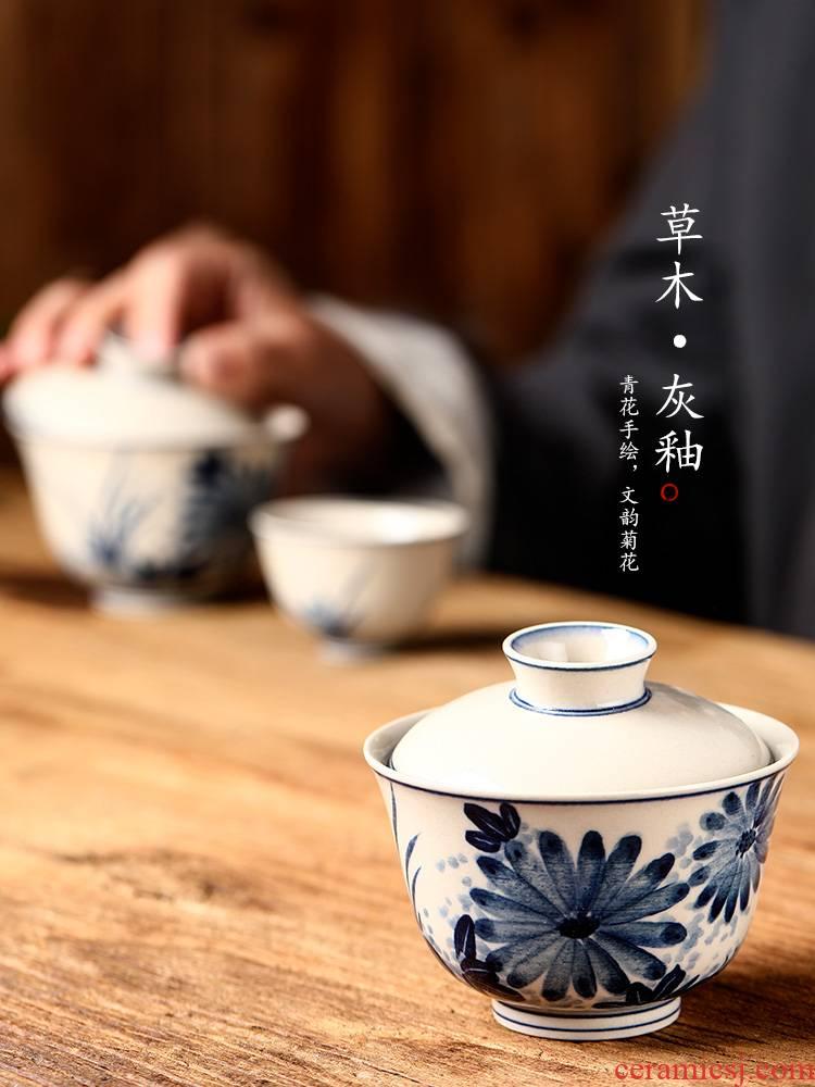 Blue and white single tea tureen pure manual hand - made hand grasp kung fu tea cups of hot plant ash jingdezhen tea; preventer