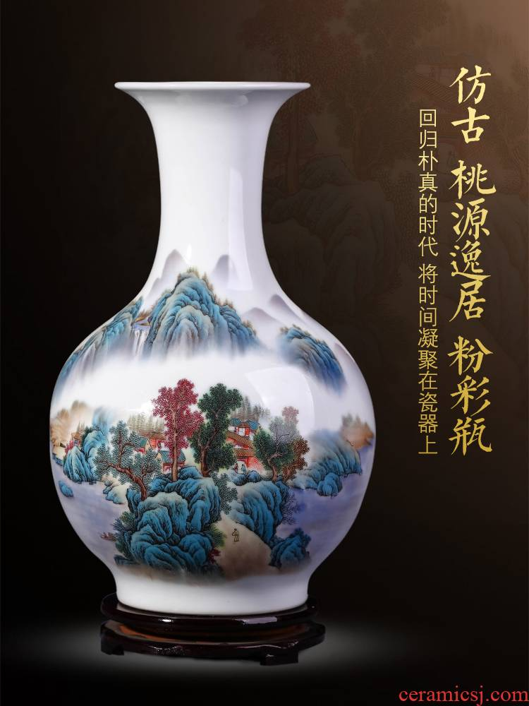 Jingdezhen ceramics powder enamel vase furnishing articles sitting room of TV ark, wine porch decoration of Chinese style household arranging flowers