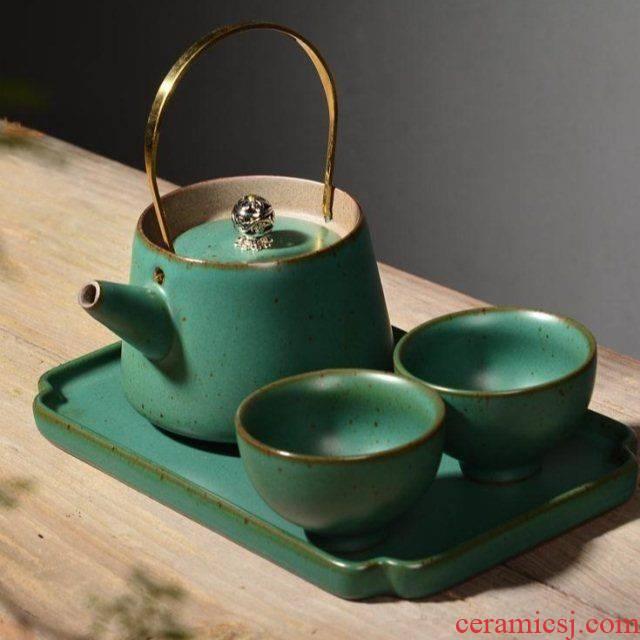 The Japanese kitchen coarse ceramic tea set travel of a complete set of portable kung fu tea set a pot of two cups of ceramic tea tray cups