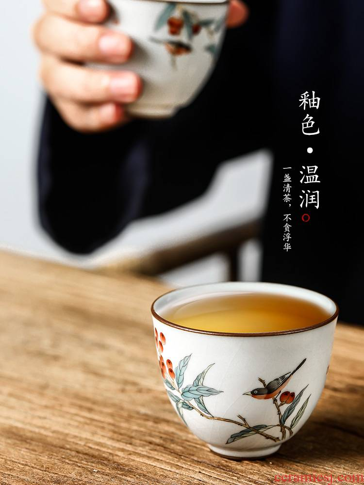 Jingdezhen hand - made master cup single CPU getting checking ceramic cups sample tea cup loquat bird your up kung fu tea set