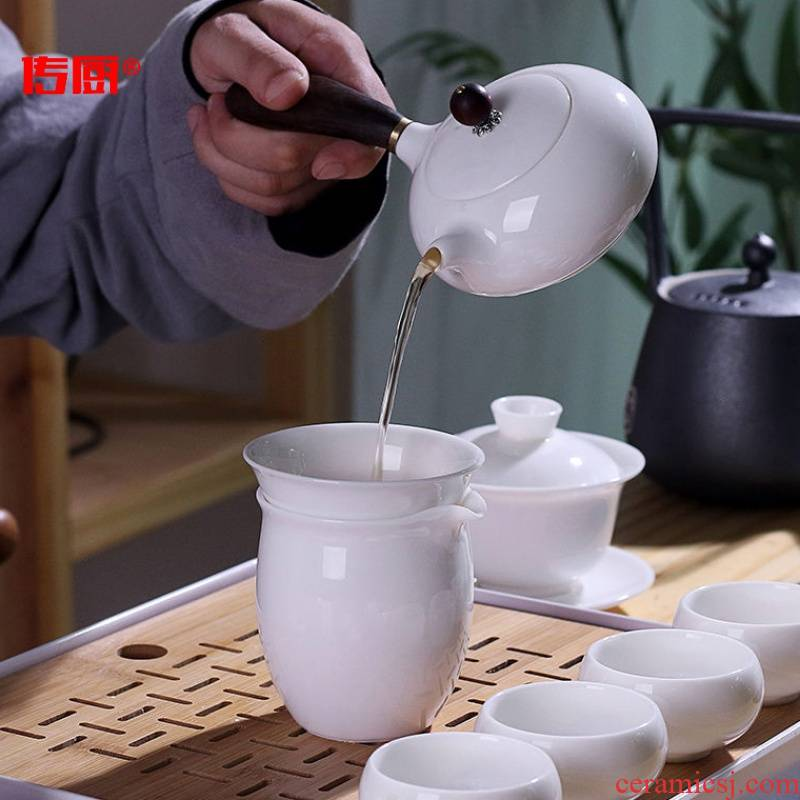 The kitchen dehua white porcelain optional along an abundant distribution 】 【 kung fu tea set household suet jade contracted wood