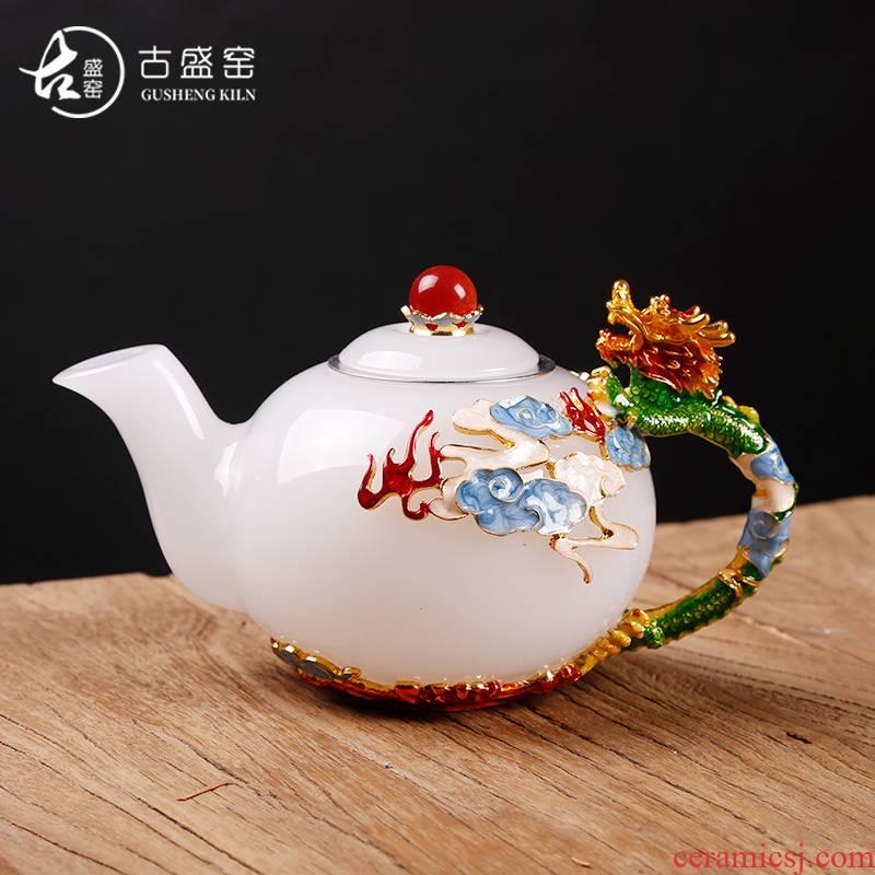 The ancient jade porcelain stone pot sheng up porcelain household enamel teapot Pyrex glass tea set single pot pot