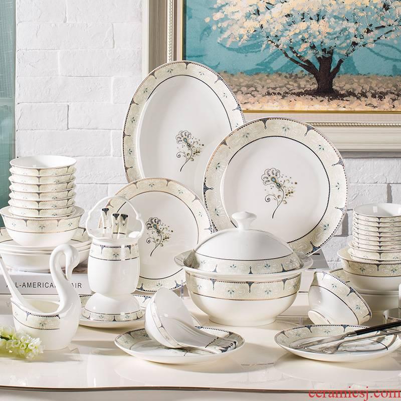 Dishes suit household jingdezhen European - style ipads porcelain tableware chopsticks ceramic bowl, dish plate Korean combination