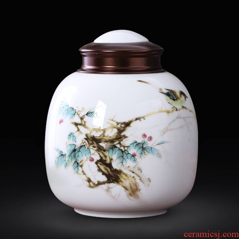 Jingdezhen ceramic small caddy fixings 200 g seal up half a catty of tea pot Chinese style household portable moistureproof