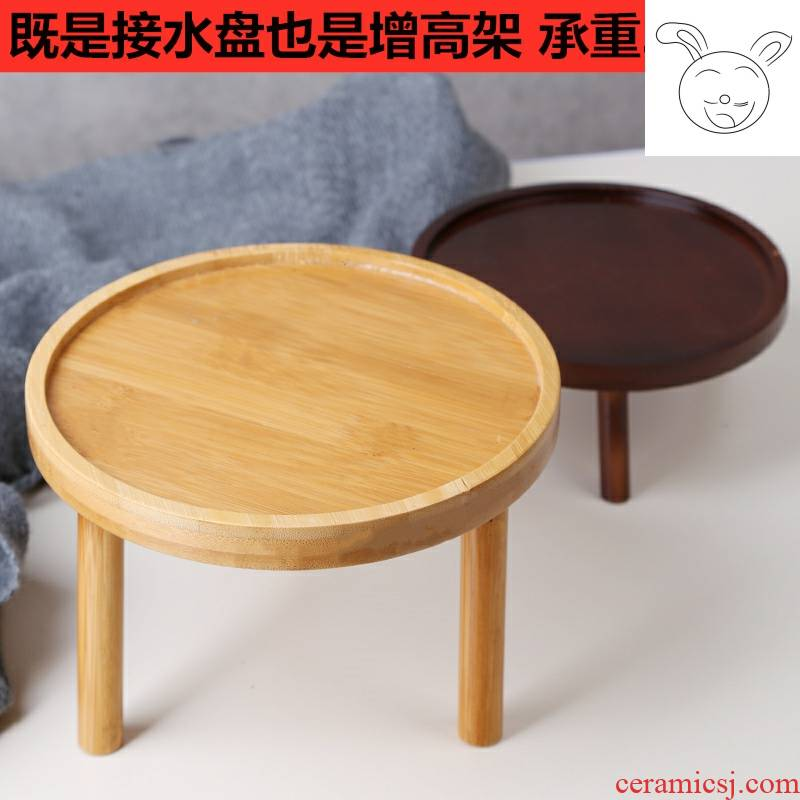 Solid wood hollow pot tray indoor potted the plants sitting room more meat desktop money plant floor vase base