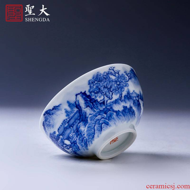 The big cup sample tea cup of pure hand - made ceramic kung fu jingdezhen blue and white floor hidden castle peak master cup tea by hand
