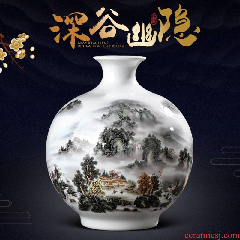 Jingdezhen ceramics vase furnishing articles living room flower arranging Chinese style household wine rich ancient frame decorative arts and crafts