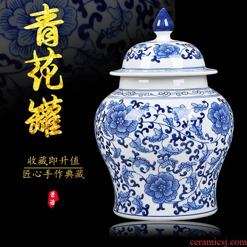 Jingdezhen blue and white ceramics storage tank caddy fixings the general pot of Chinese style restoring ancient ways vase decorates porch place