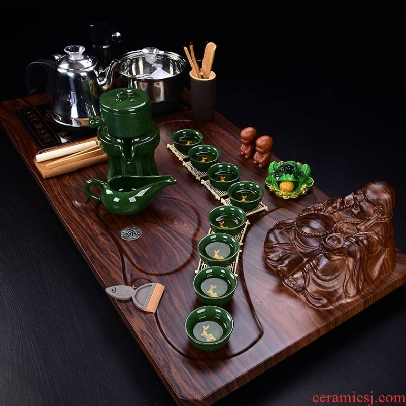 The kitchen violet arenaceous kung fu tea set contracted household automatic magnetic electric heating furnace of a complete set of tea solid wood tea tray