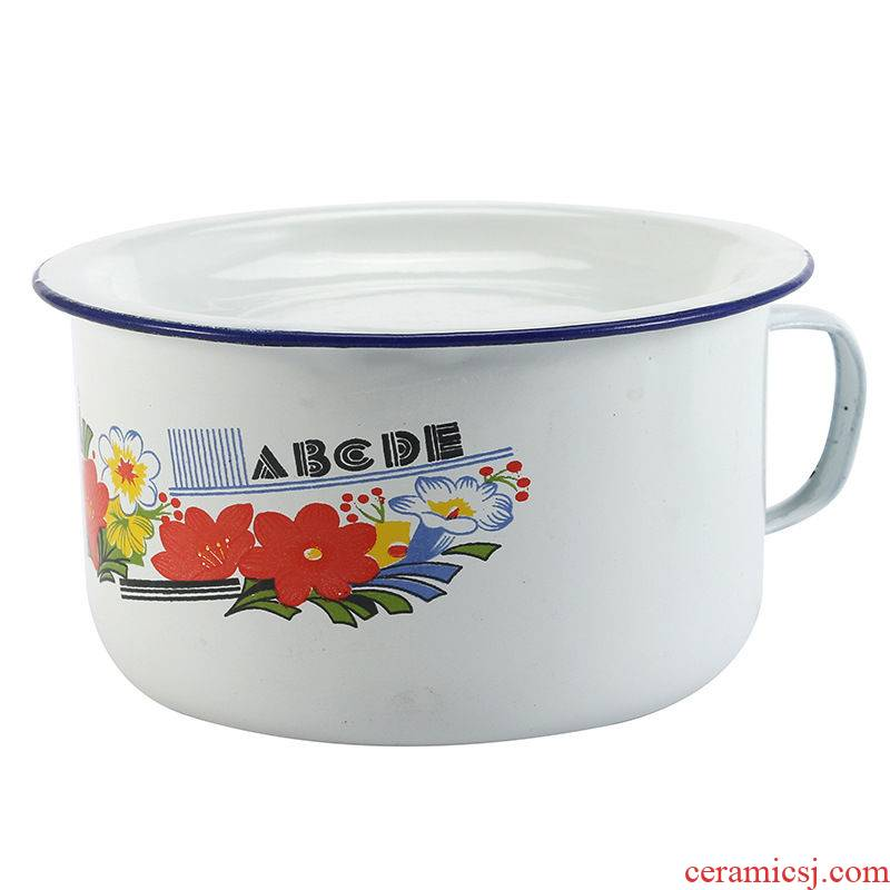 Nostalgic classic old enamel rice rice basin lunch box cylinder enamel mercifully rainbow such as bowl bowl students take with cover 16 cm