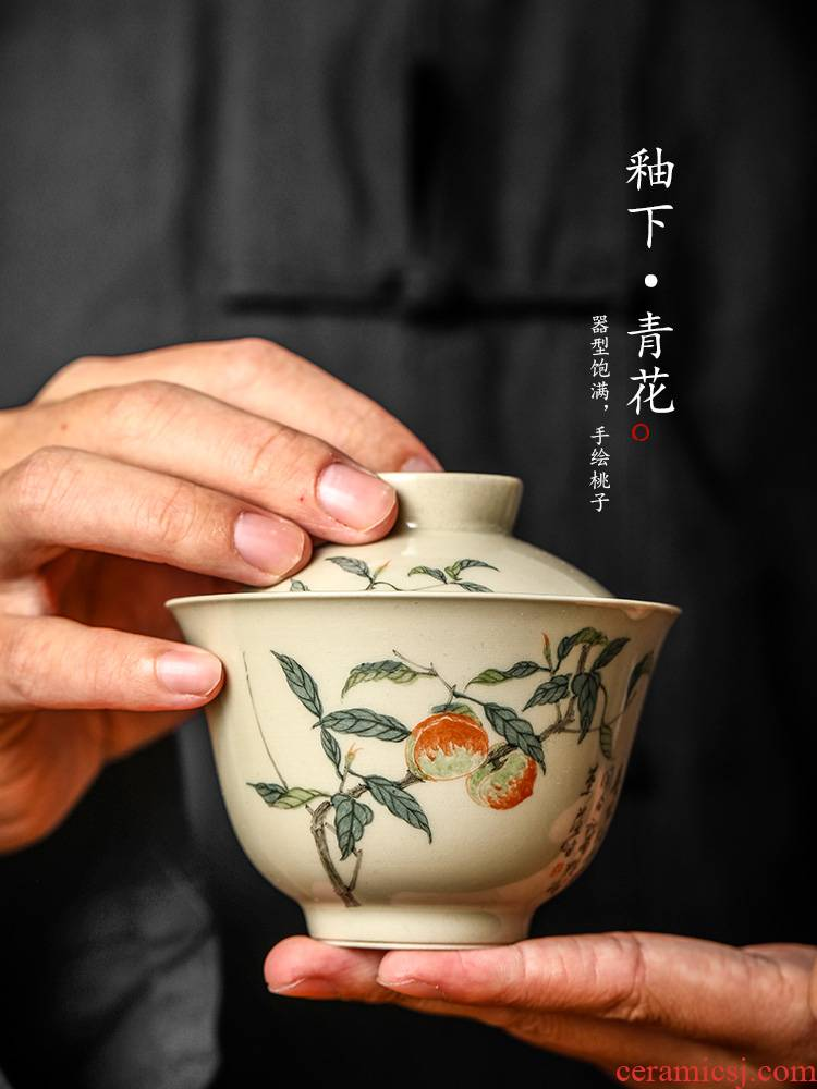 Jingdezhen tea tureen tea pure manual anti hot kung fu tea bowls a single hand - made plant ash glaze ceramic tea
